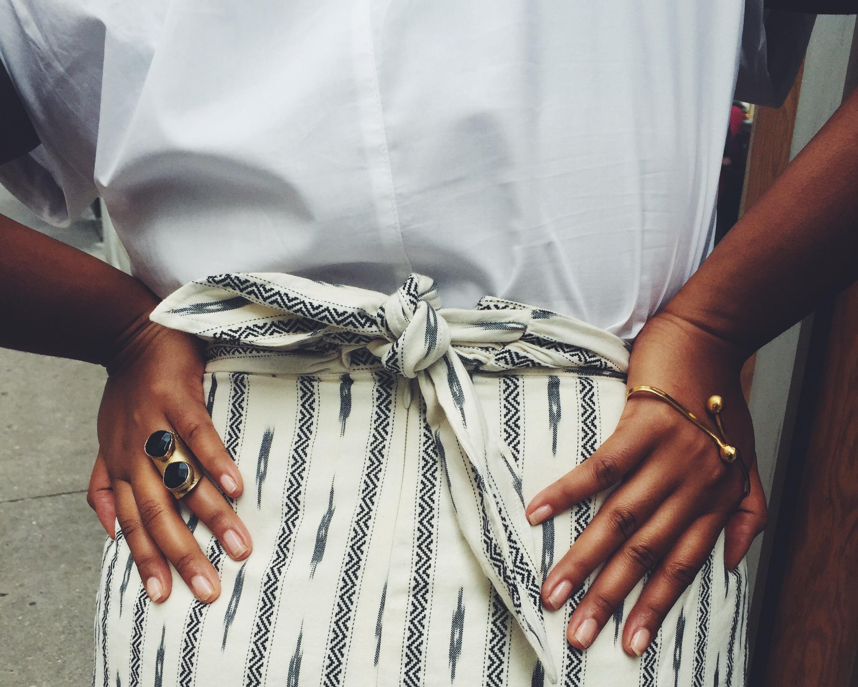 Jcrew Faux-wrap skirt in ivory ikat Elsie fabric d'orsay pumps Jcrew short sleeve popover shirt that hayet rida orne ghana 4.jpeg