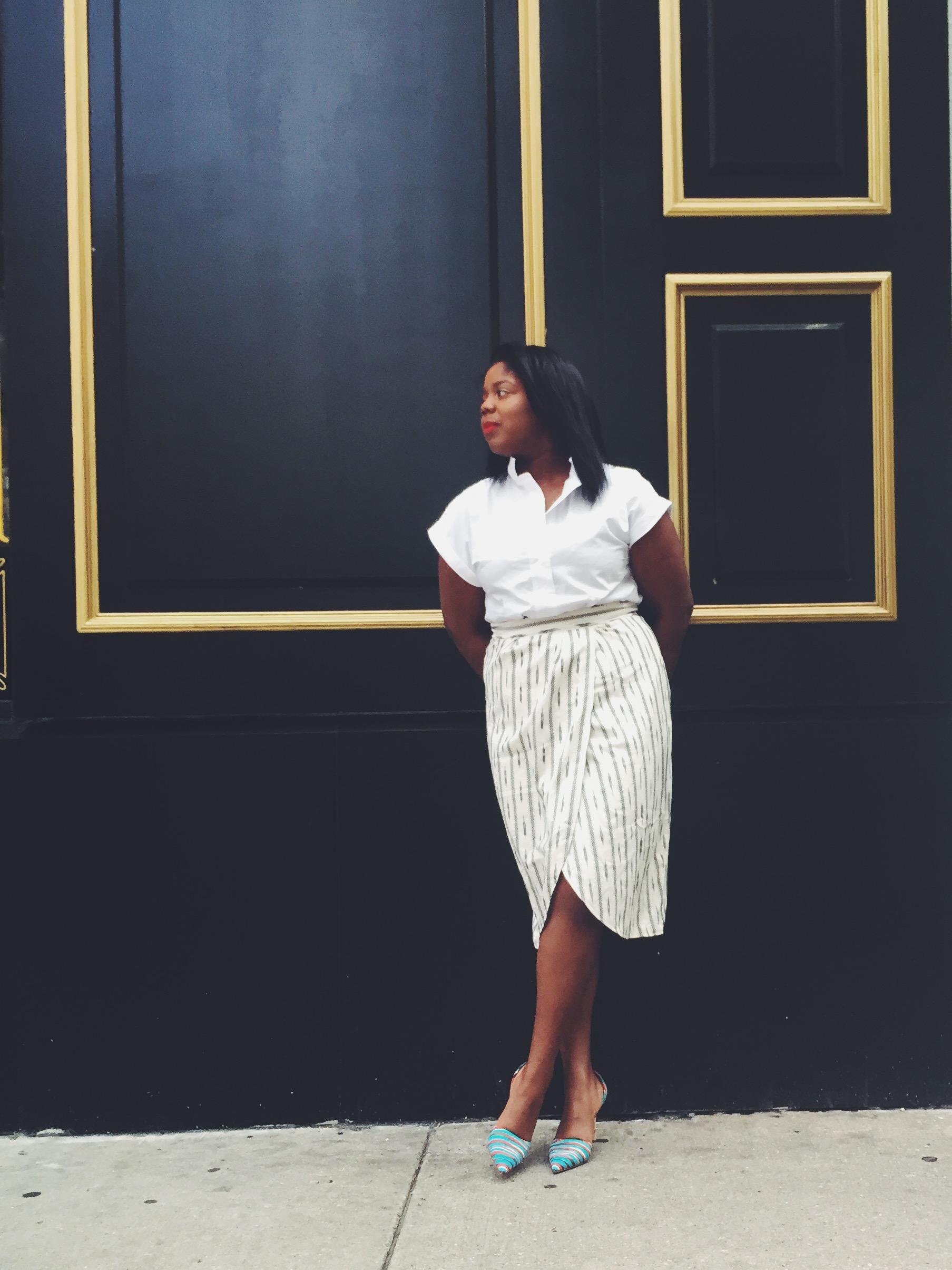 Jcrew Faux-wrap skirt in ivory ikat Elsie fabric d'orsay pumps Jcrew short sleeve popover shirt that hayet rida orne ghana 9.jpeg