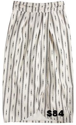 Jcrew Tulip Faux-wrap SKirt in Ivory Ikat.jpg