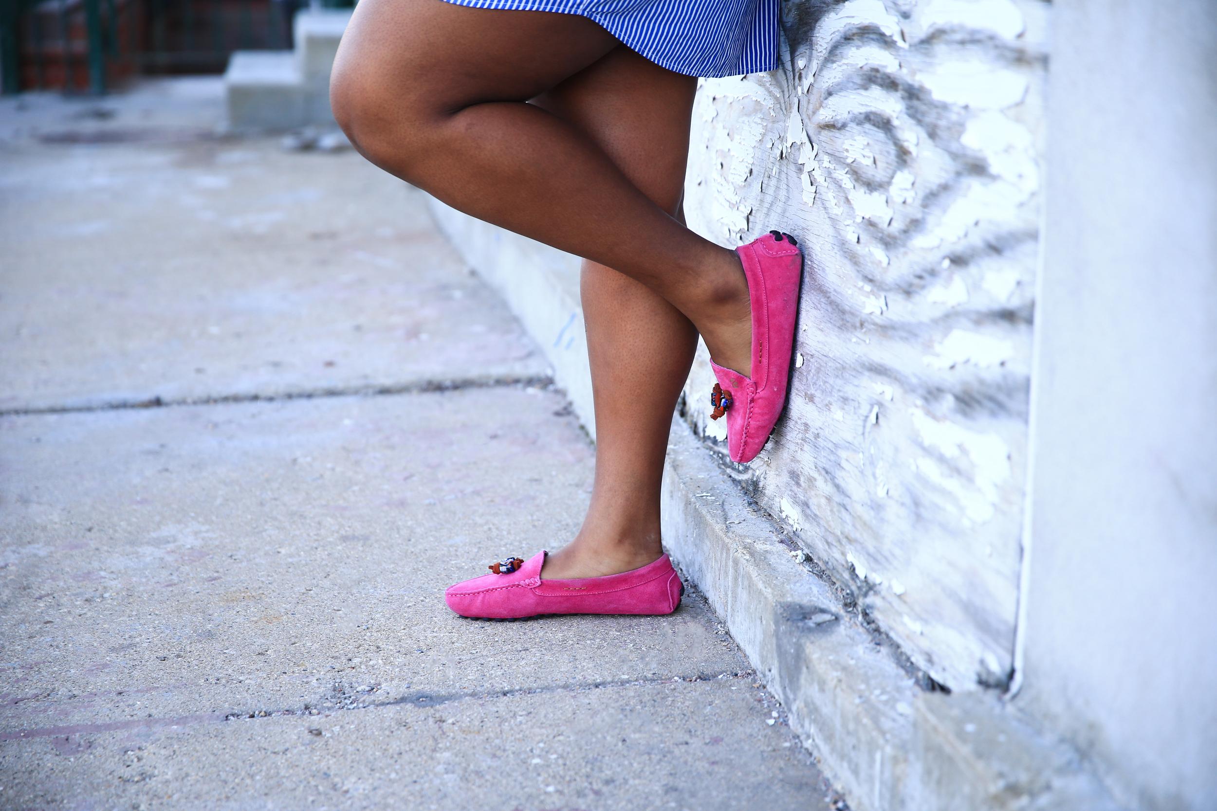 That Hayet Rida Plus Size Blogger Chicago Banana Republic Striped Cotton Shirtdress 3 Kasa Shoes.jpg