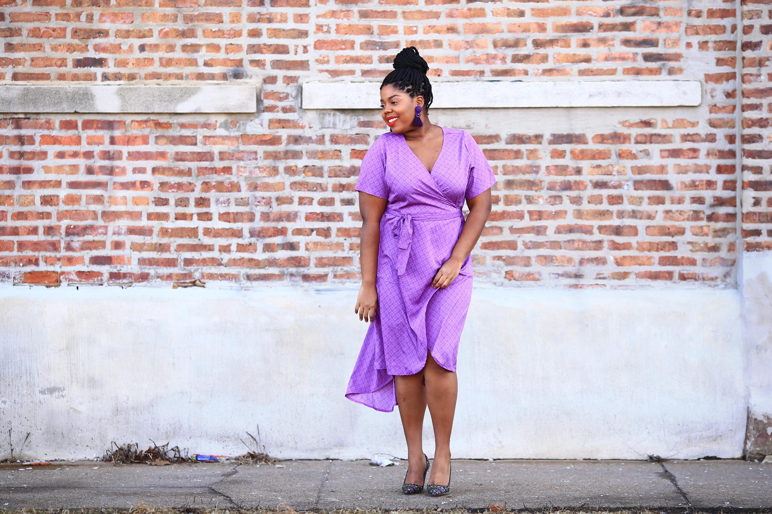 Hayet Rida Plus Size Style Twelve North Purple Dress Jcrew Shoes 2.jpg