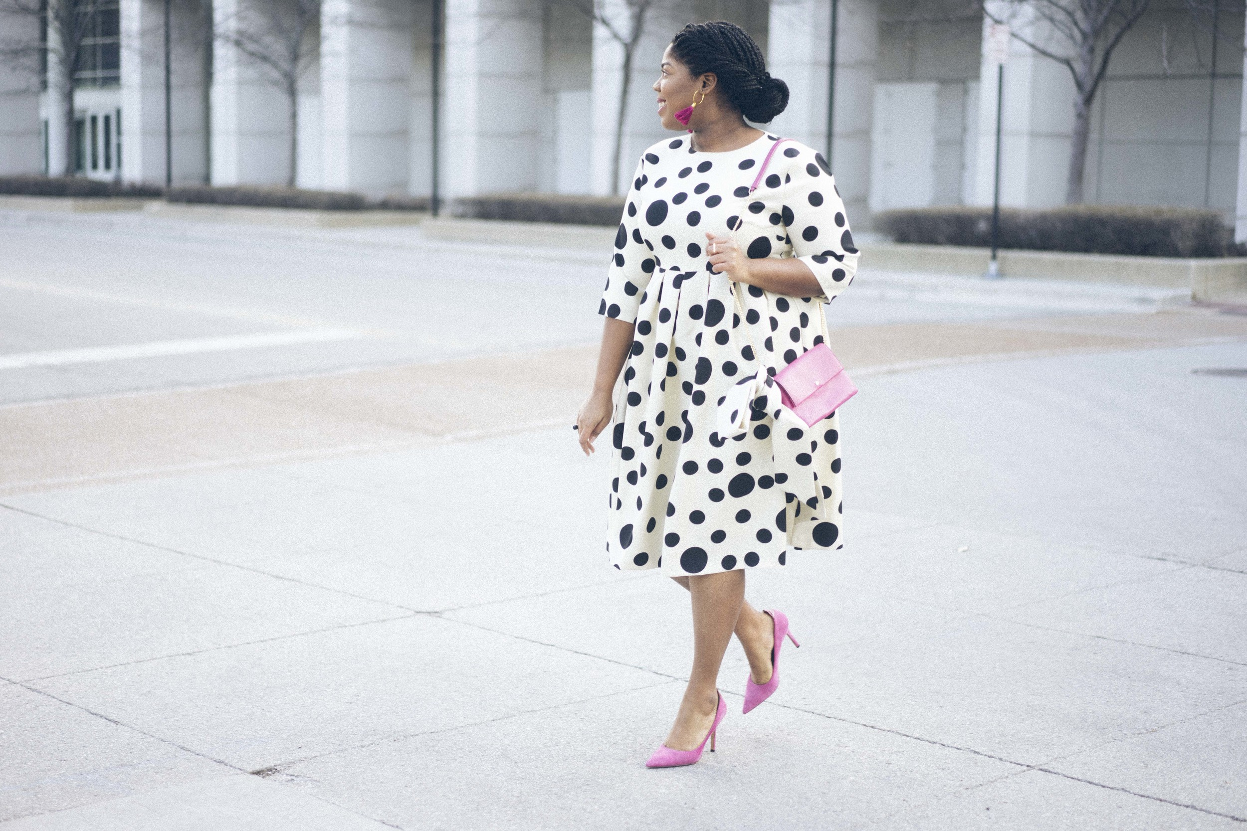 That Hayet Rida Dainty Jewels Polka Dot Dress Pink Sam Edelman Pumps Banana Republic Magenta Leather Bag Plus Size Looks Easter Dress 9.jpg