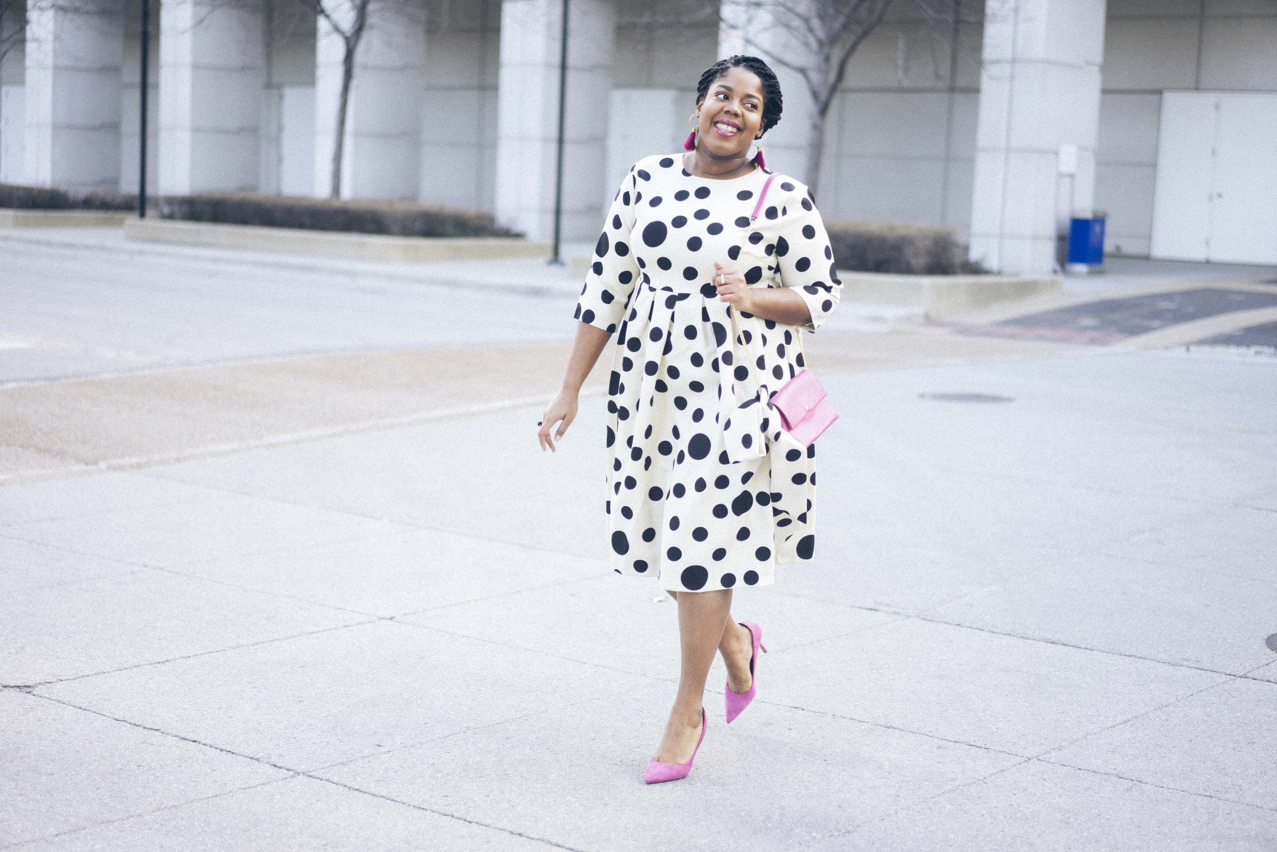 That Hayet Rida Dainty Jewels Polka Dot Dress Pink Sam Edelman Pumps Banana Republic Magenta Leather Bag Plus Size Looks Easter Dress 10.jpg