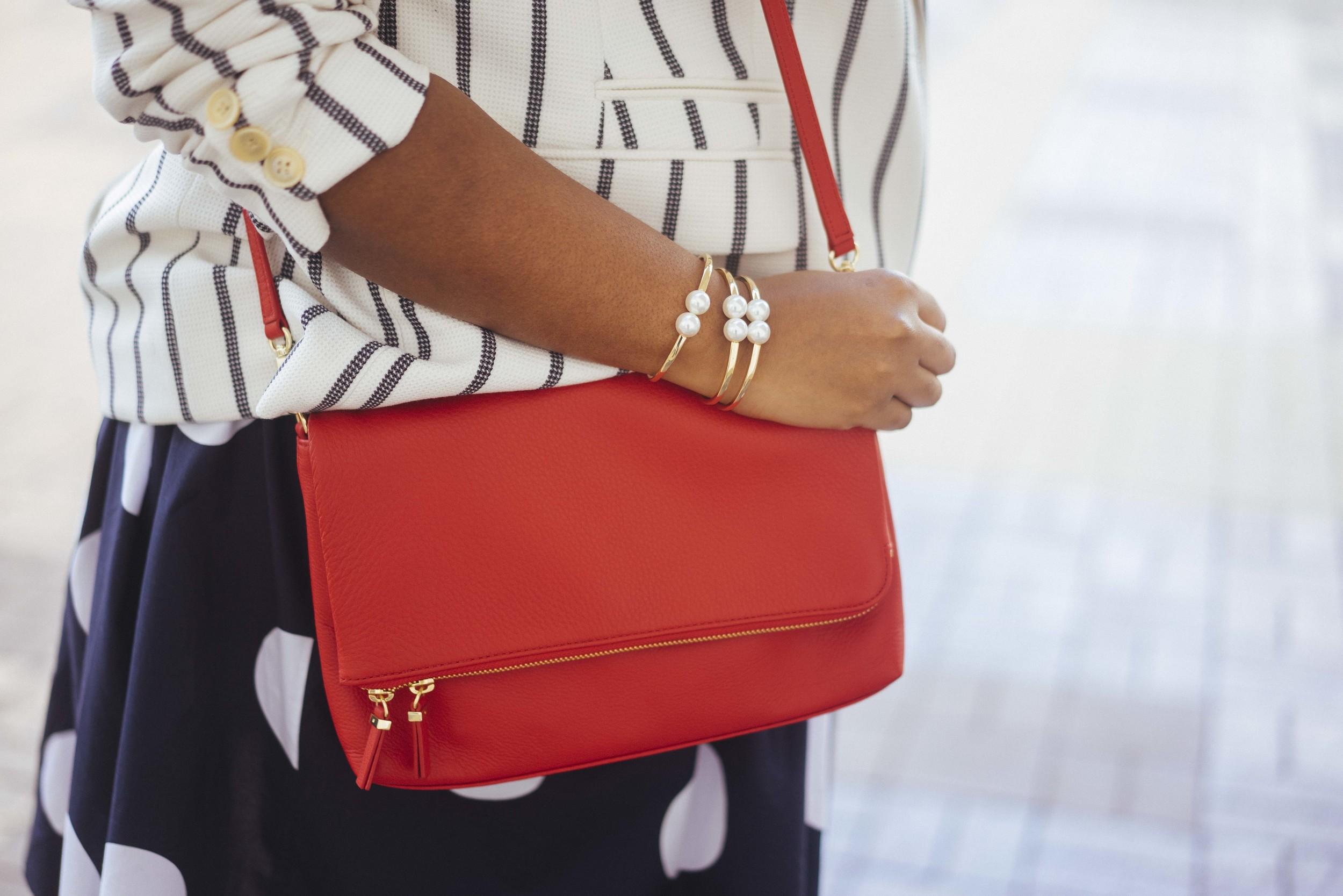 That Hayet Rida Talbots Nautical Striped Blazer Polka dot Dress Pearl Bangles Red Bag Plus Size Looks Blogger 2.jpg