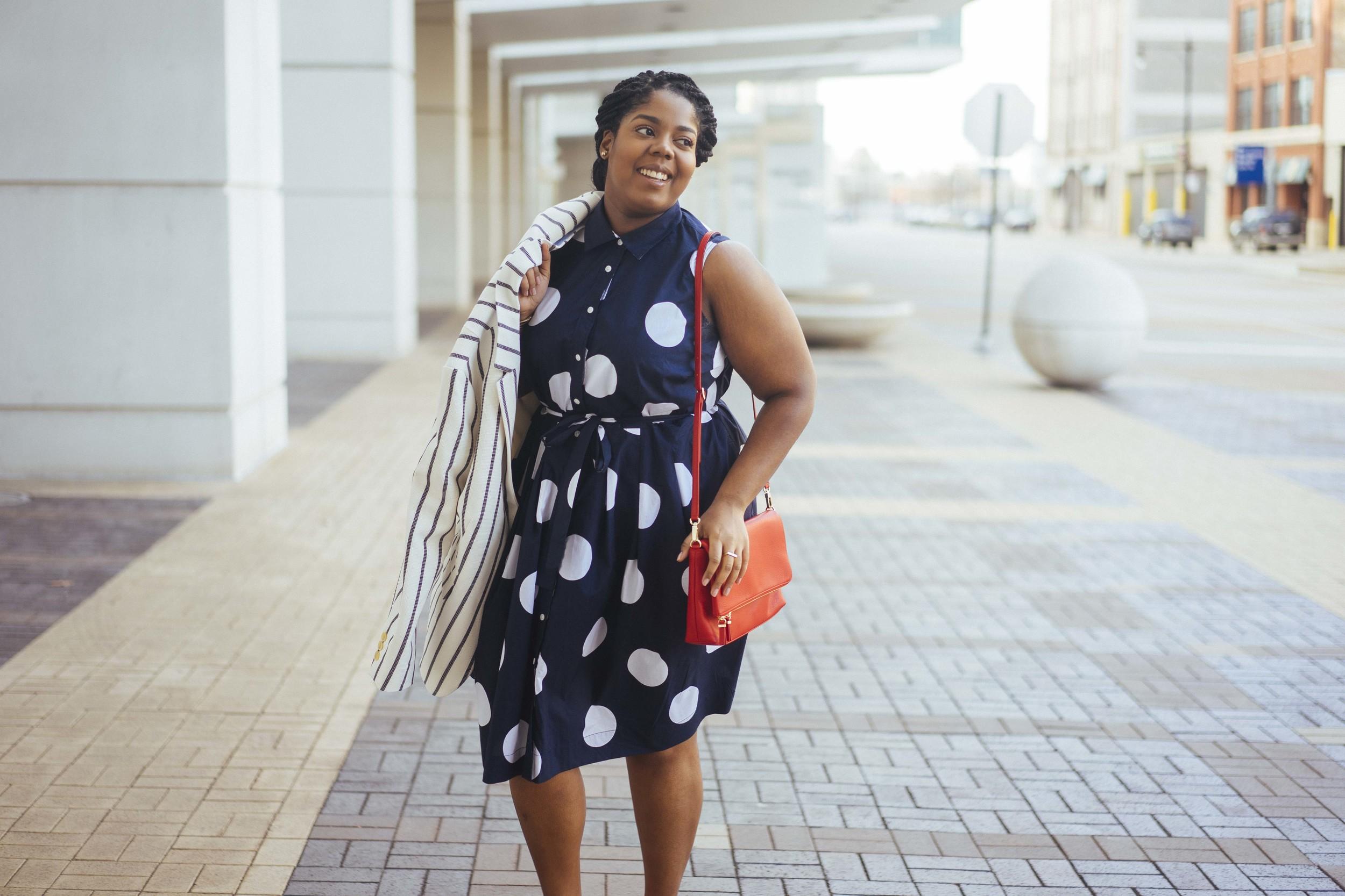 That Hayet Rida Talbots Nautical Striped Blazer Polka dot Dress Pearl Bangles Red Bag Plus Size Looks Blogger 7.jpg
