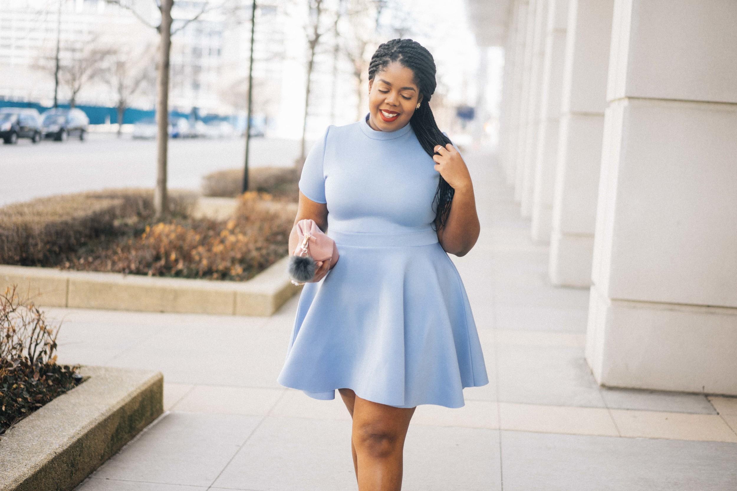 That Hayet Rida Plus Size Fix Skater Dress Blue  7.jpg