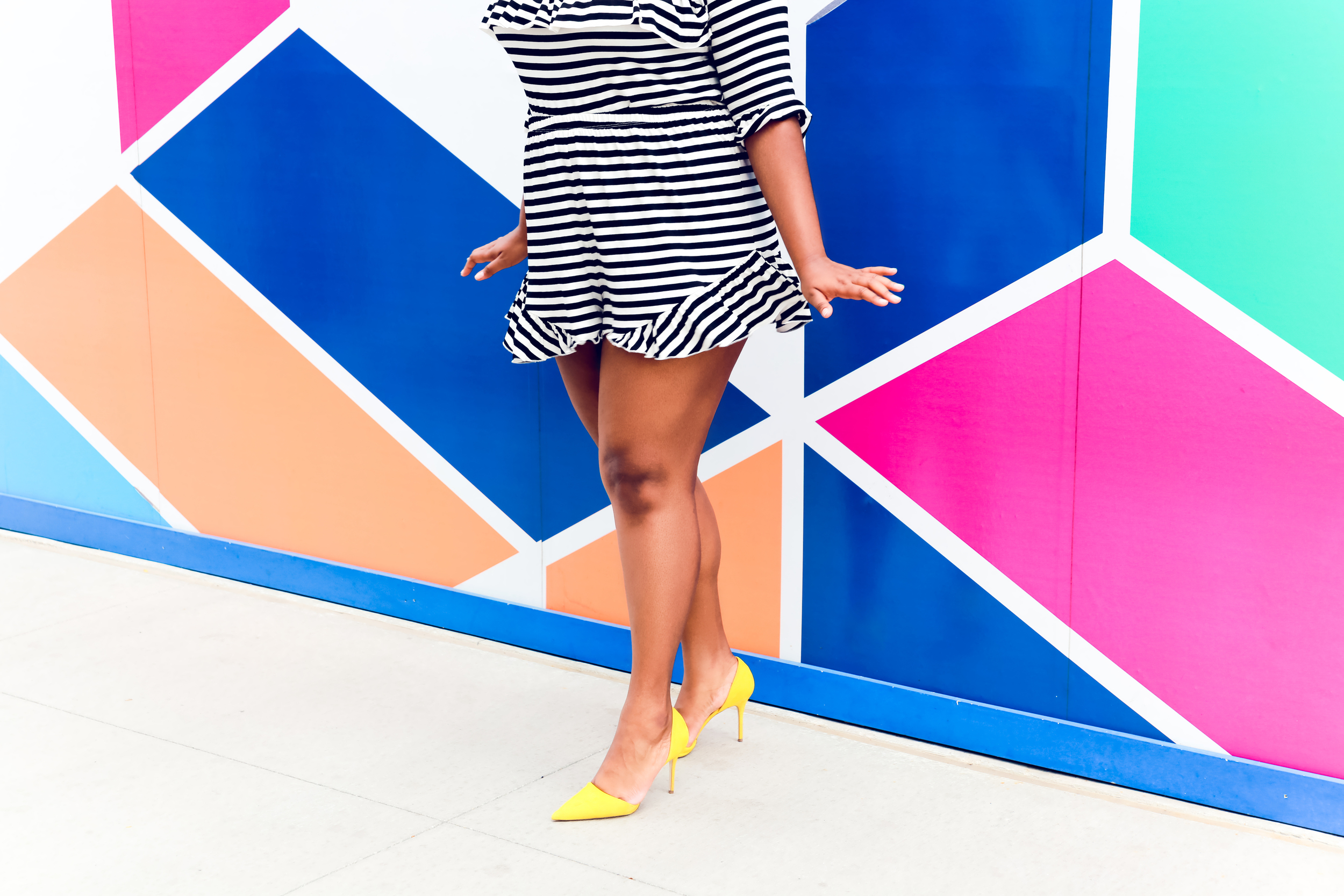 That Hayet Rida Chicago Walls Striped Set Asos Curve top in stripe with ruffle drill shorts plus size blogger  5.JPG