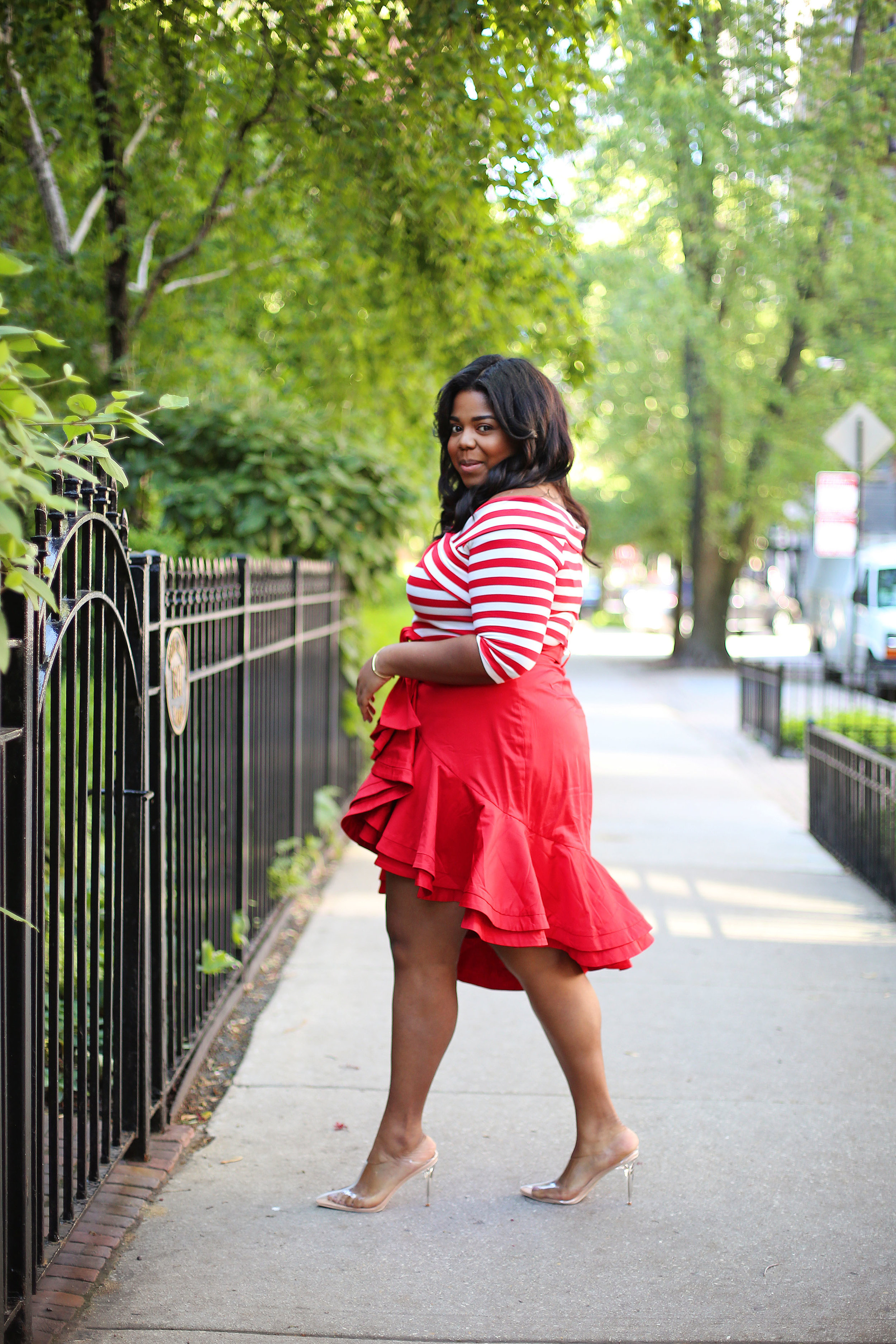 Look 1 - I paired a Fame & Partners custom skirt with a off shoulder top from the JcPenney plus size line.