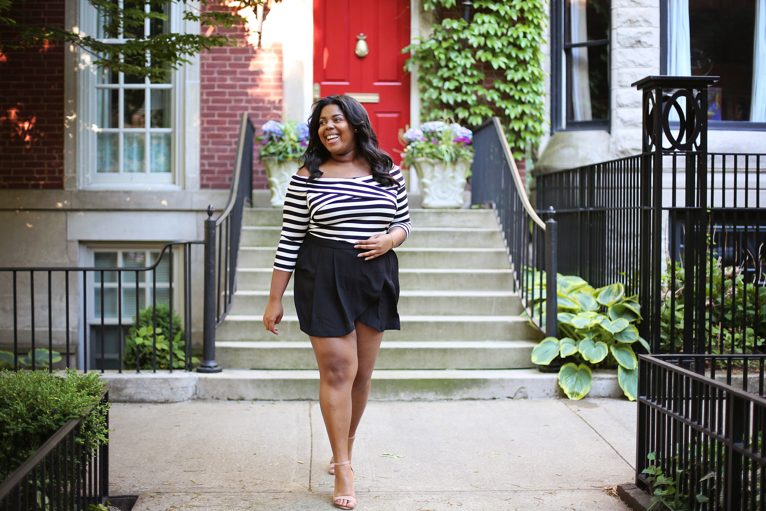 Look 2 - I loved the stripes so much that I wore them twice. This time I paired a black version with designer shorts.