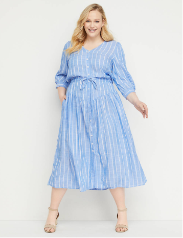 Copy of Striped Button-Front Fit & Flair Midi Dress
