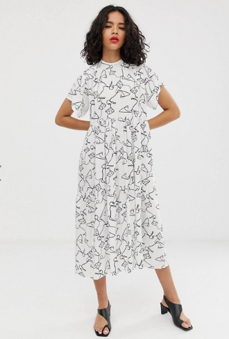 ASOS DESIGN open back midi smock dress in squiggle print