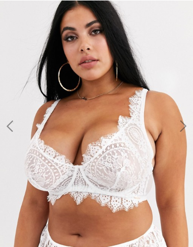 Figleaves Curve Adore lace bra with high apex in white