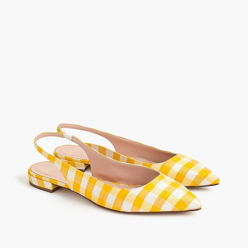Pointed toe slingblack flats, gingham