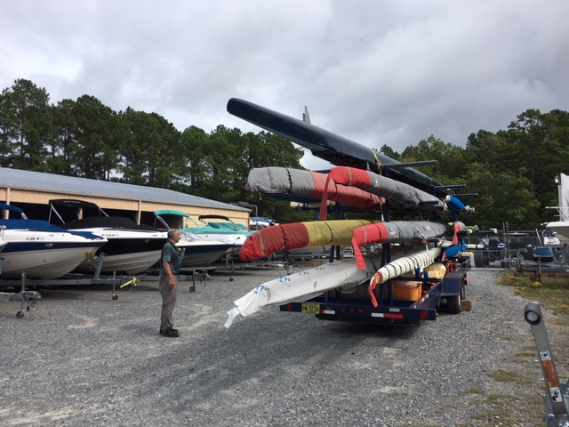 Our equipment in safety: Located in the Crosswinds boat yard with an escape route through Apex Boatworks, 248 feet over sea level, 8 feet above flood level and far away from any tree that could be blown over.