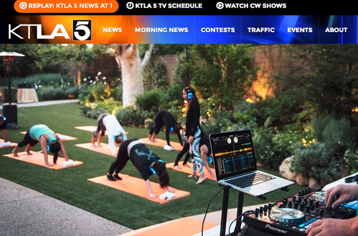 KTLA News: Yoga Gets the Silent Treatment with Goli Gabbay    Sound Off Yoga   combines technology, yoga, music and community to create a unique and highly curated yoga experience. *click for the full feature