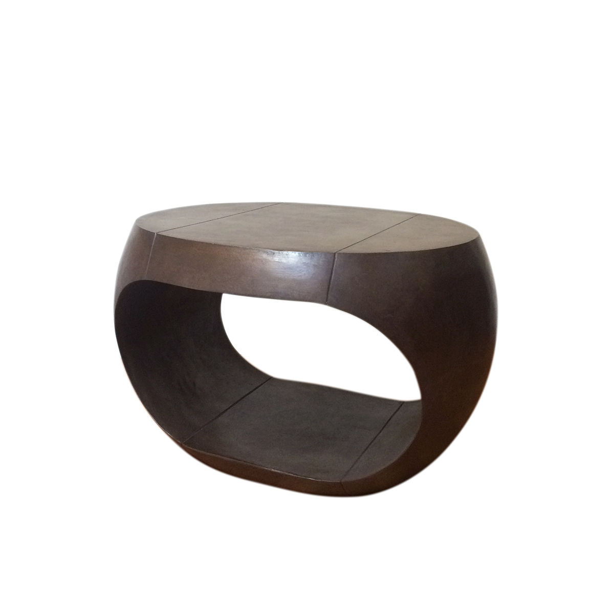 "Leather Drum Table (Standard)   Curved side table. Top: 23""W x 21""D, Body: 26""W x 23""D, Height: 17"""