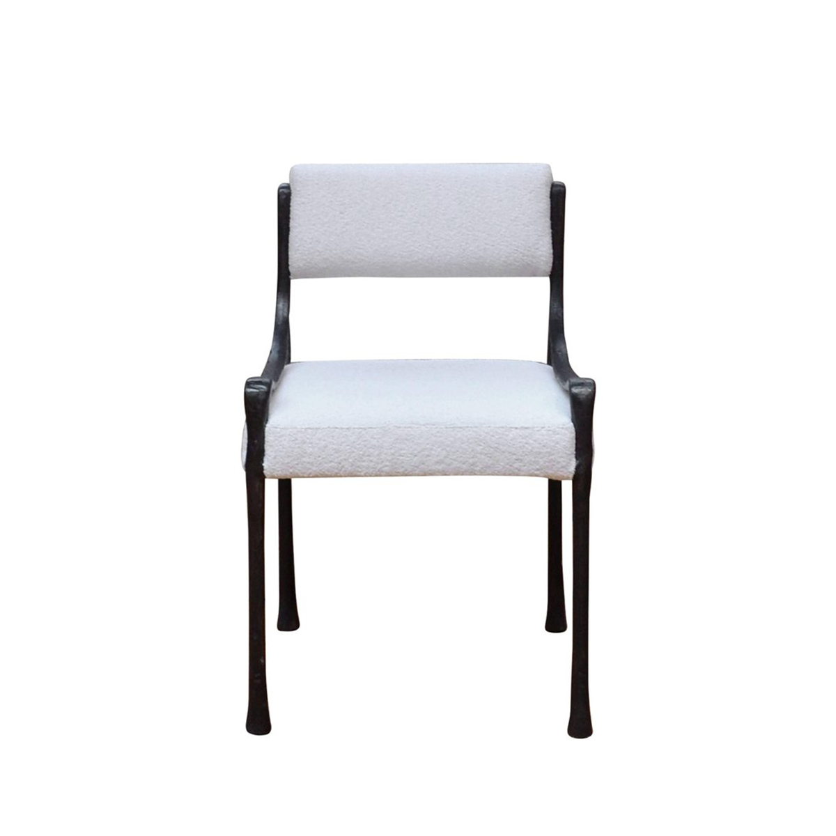 "Giac Side Chair   21 1/8""W x 21 1/8""D x 32""H, 19""SH, 21""AH. Available in Black with white boucle as shown. 10x Available. Can be bought as a set or individually."
