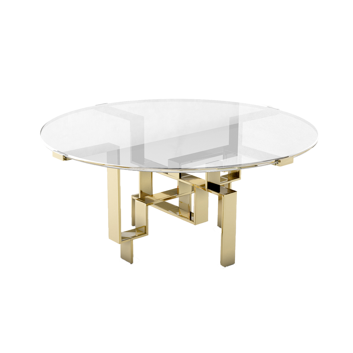 "Metropolis Round Table   Glass topped dining table with solid brass geometric base. 60""diameter x 29.5"""