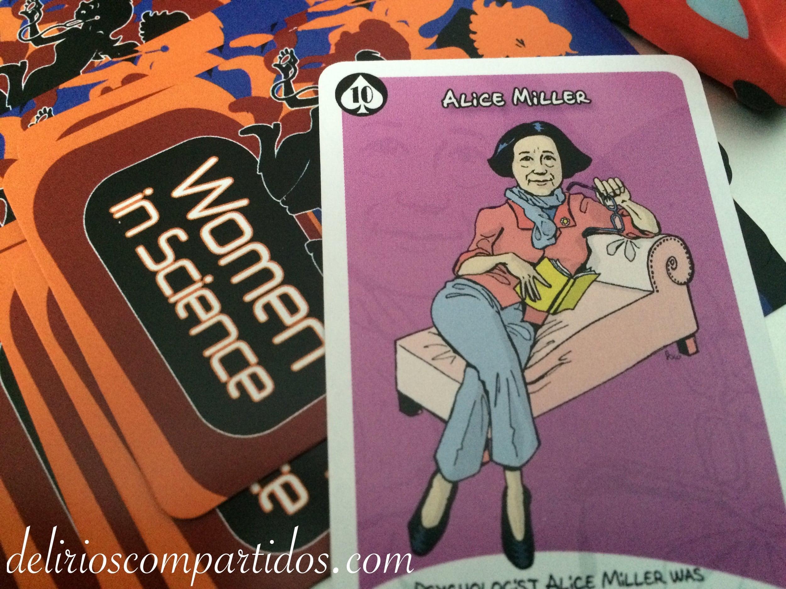 Detalle de la carta de Alice Miller en el juego Women in science, de Luana Games