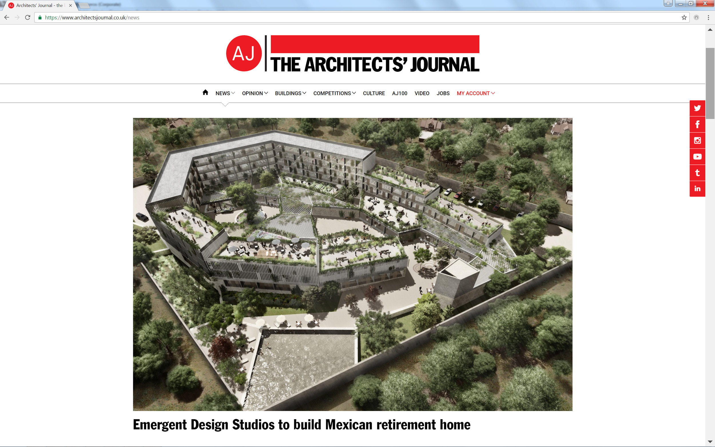 Excited for this project feature of our Barrio San Miguel scheme in Mexico in the Architects' Journal. Our project is for a residential-led retirement complex, in association with our partners RVdG Arquitectura y Urbanismo.