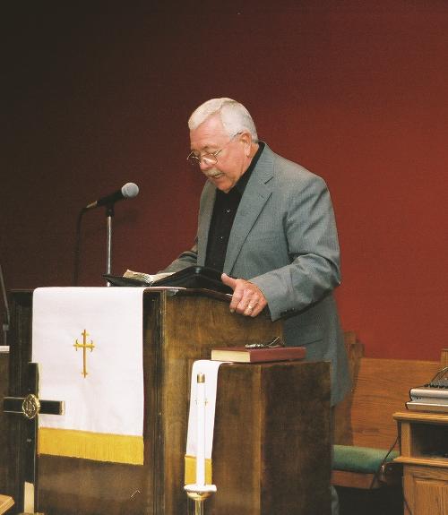Donald Brown sharing a Gospel reading