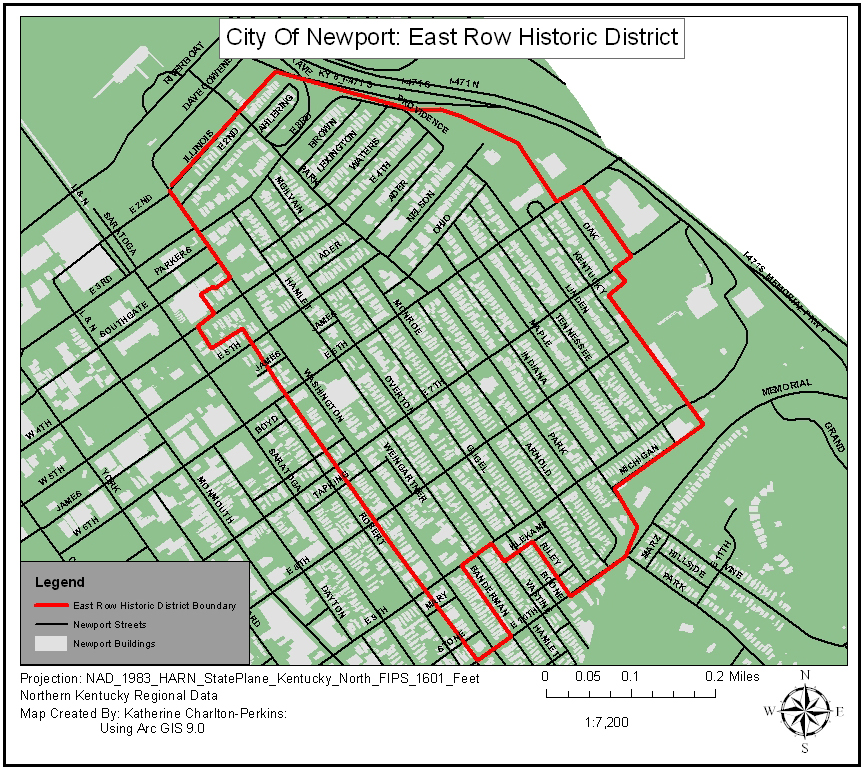 Map of the East Row Historic District