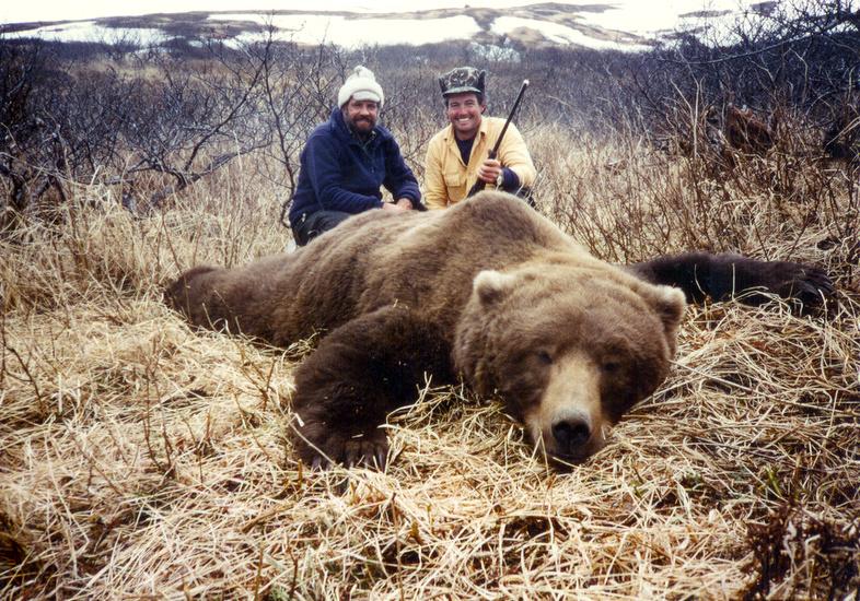 "John & me with his 10'5"" , 28 11/16 brown bear"