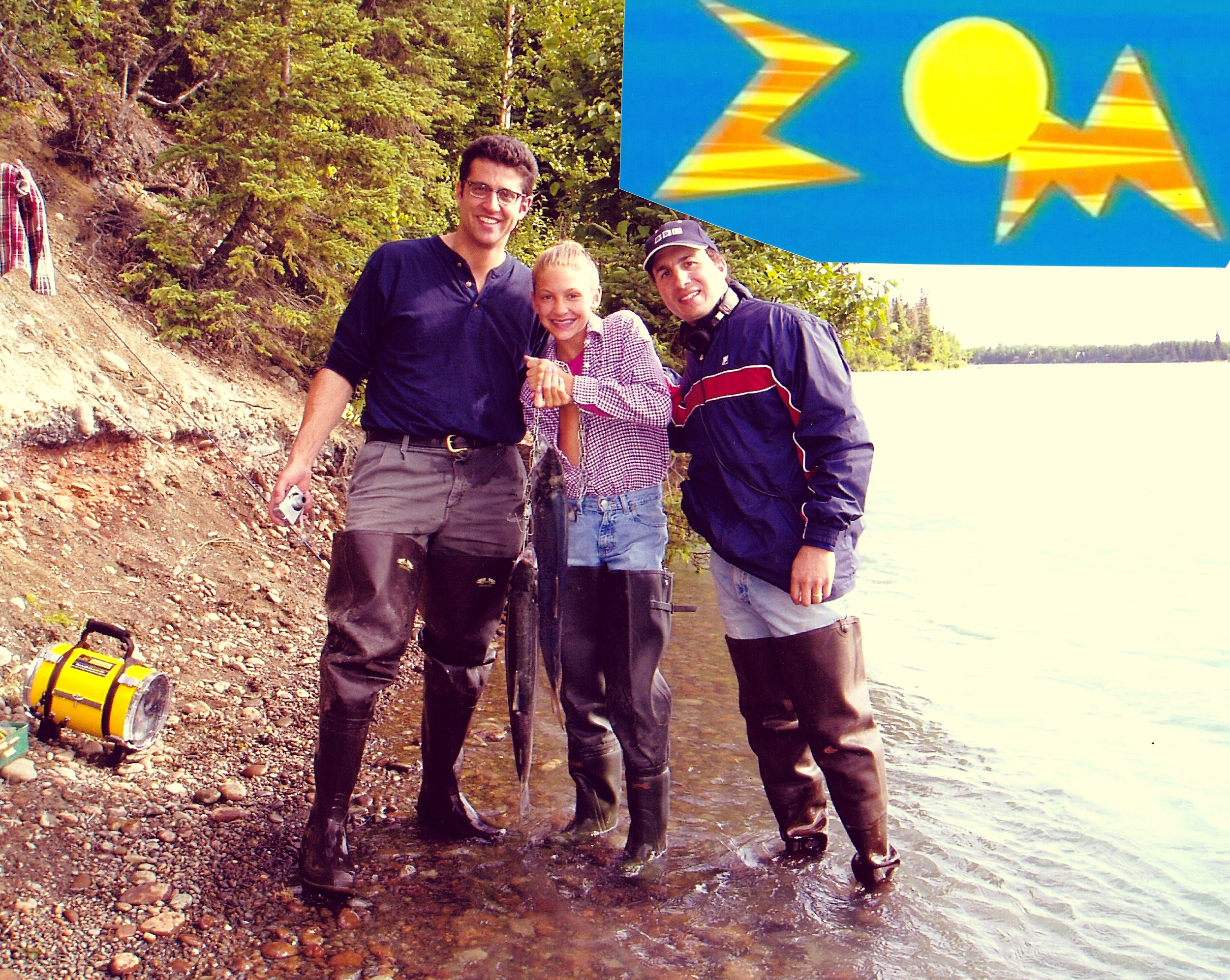 Steve, my granddaughter Jordan, and Alan fishing during the project.