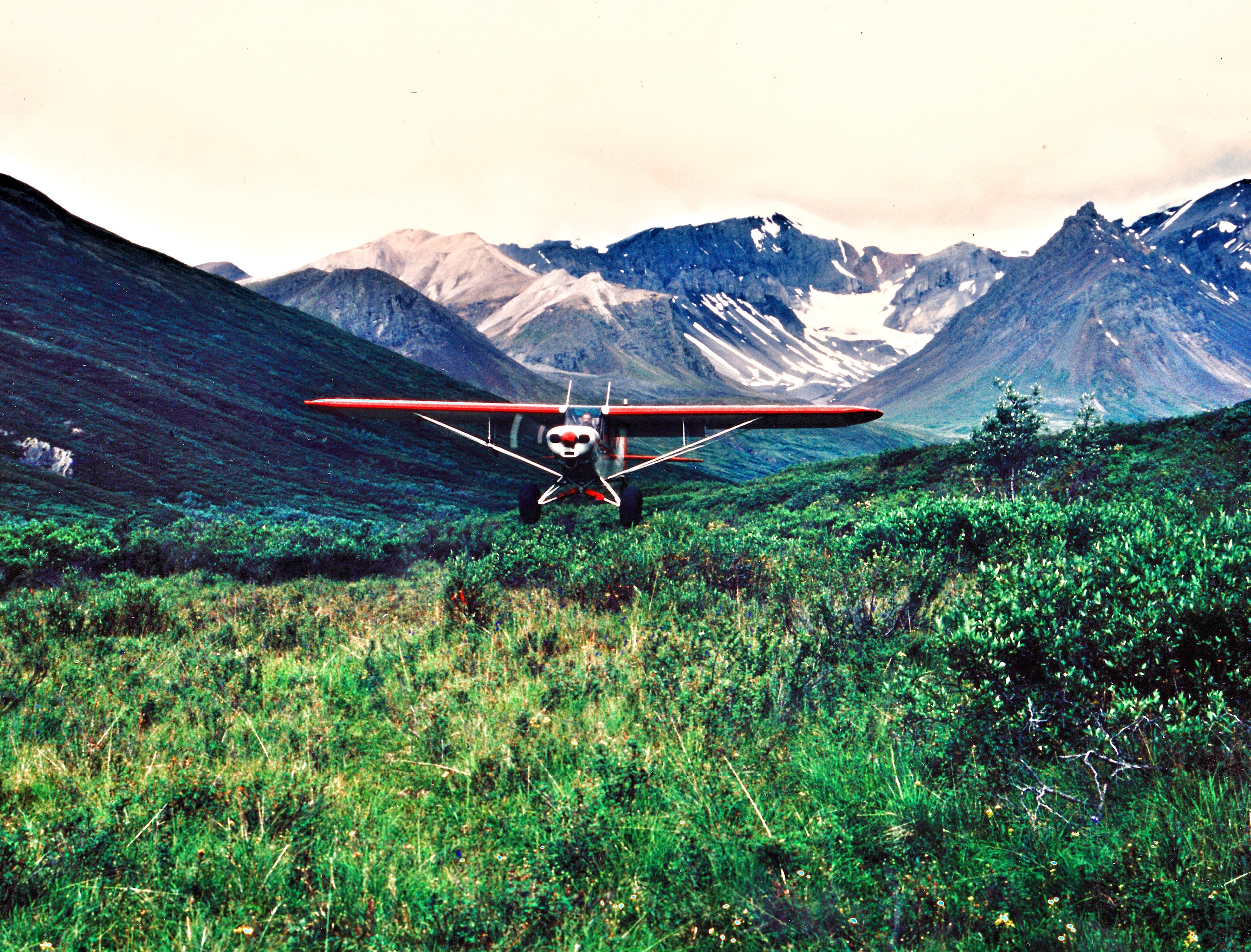 Landing at swamp camp, altitude 4000'. This picture was taken by Demitrious Deoudes or better known as Dee. Dee was one of our top sheep guides. He still works for AAA Alaskan Outfitters now as a pilot.