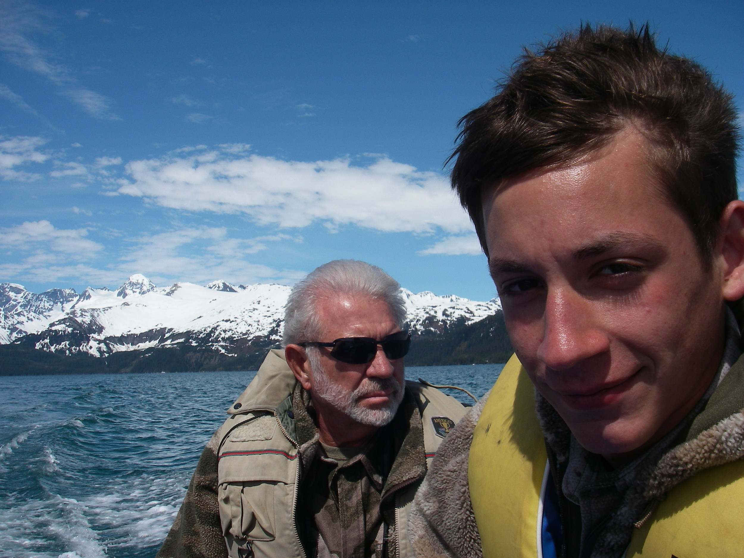 Jared and me in the Zodiac on one of those beautiful spring days in Prince William Sound.  I'm going to miss that place.