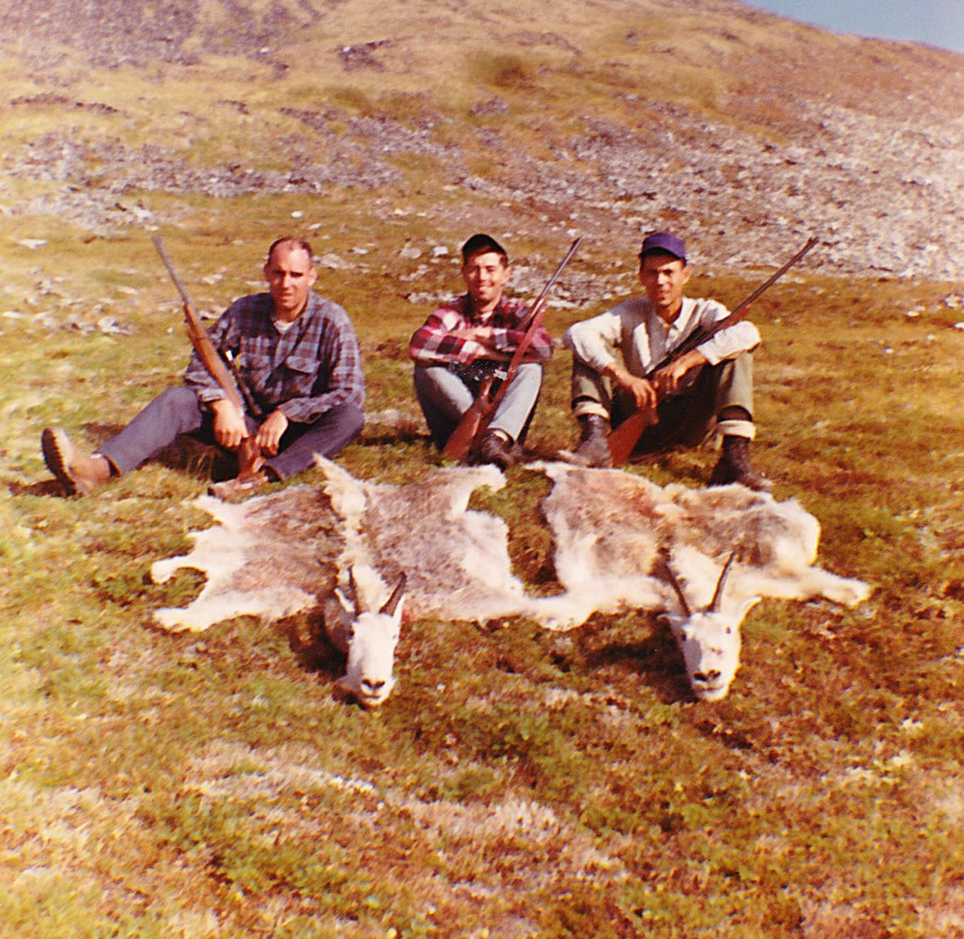My good hunting buddies from (L to R) Chuck Berry, Gary Wadkins and Phil Sun with my Billy and Phil's Nanny. I hunted with Chuck and Gary many times but this was Phil's first and last hunt. He said hunting wasn't for him.
