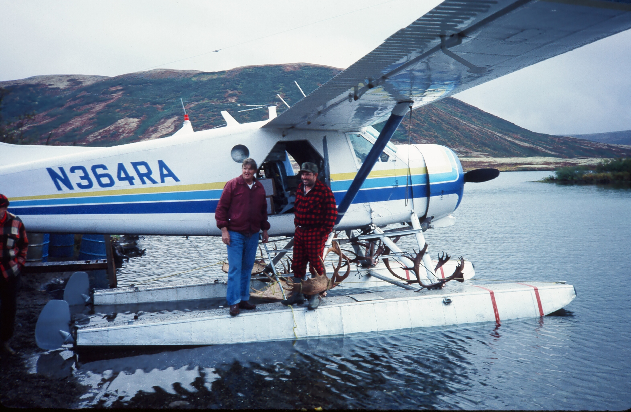 This is a de Havillard Beaver like the one Bill Martin used to pick us up.  This one belonged to Armstrong Air.  AAA Alaskan Outfitters first two hunters in Tony's old area in 1987.  (L to R) Bobby Gross and Leonard Anderson both from West Virginia.
