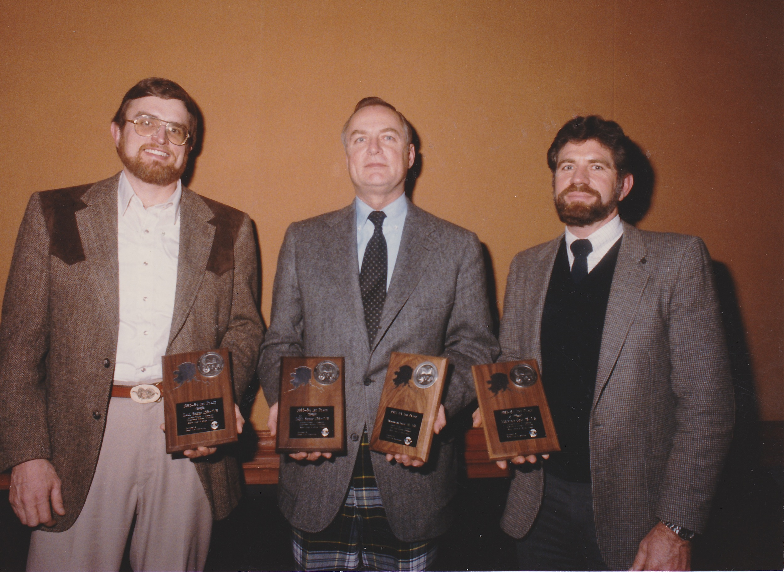 Brent, Mike Dobransky and me receiving our SCI Award Plaques at the 1985 Alaska Professional Hunters Association Banquet.  These were for our first season.