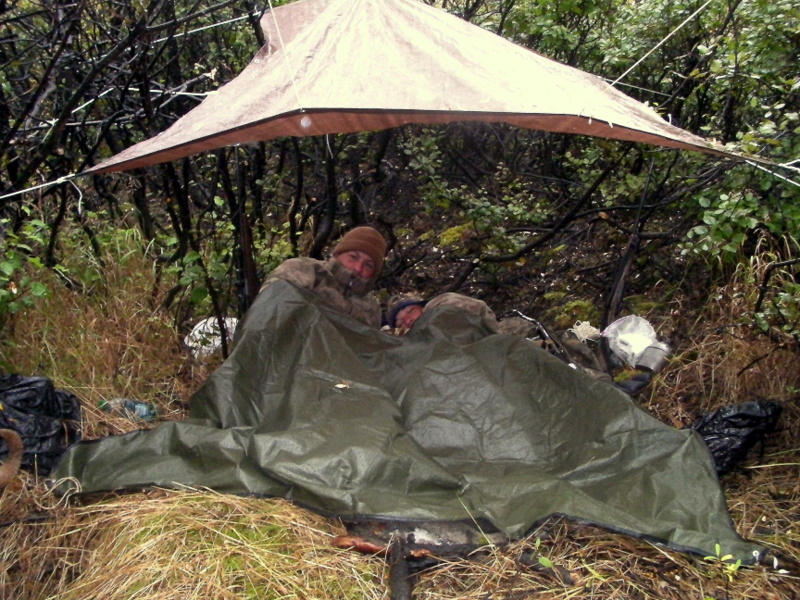 Jared and his dad Sagen sleeping out again without sleeping bags. We were about 600 yards from where we had slept out 4 years ago. This time however he had his ram.