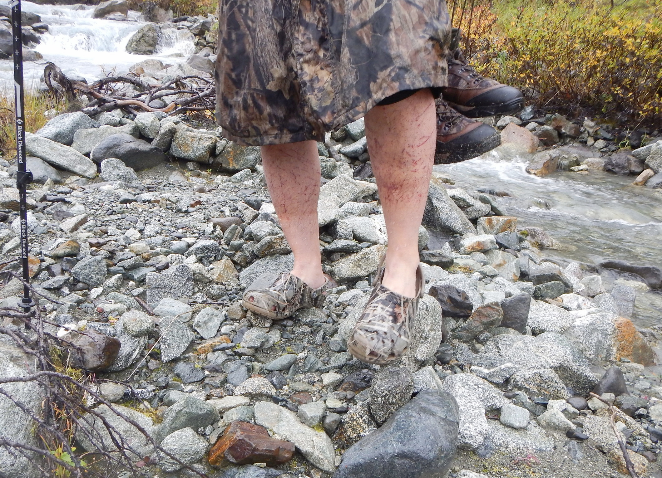 Sagen after crossing the creek with his crocs. Check out his legs from wearing shorts on the way in.