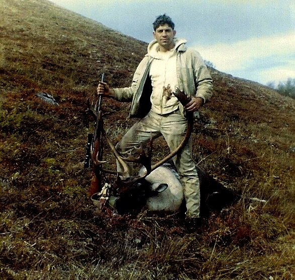 Me with Gary's caribou. Looks like my pants are a little bloody already.