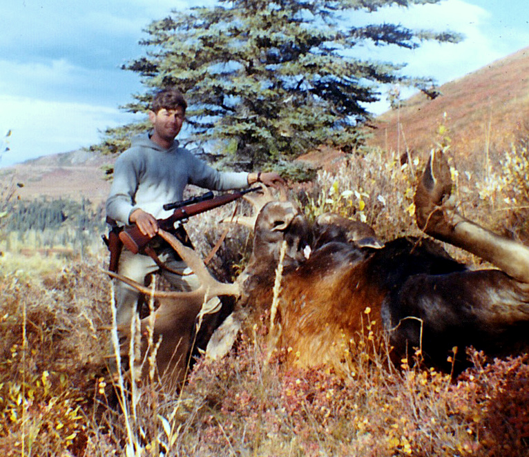 """Gary with his 60"""" moose. I hadn't learned how to take good trophy photos. I was still using the little Kodak """"Brownie Hawkeye"""" camera."""