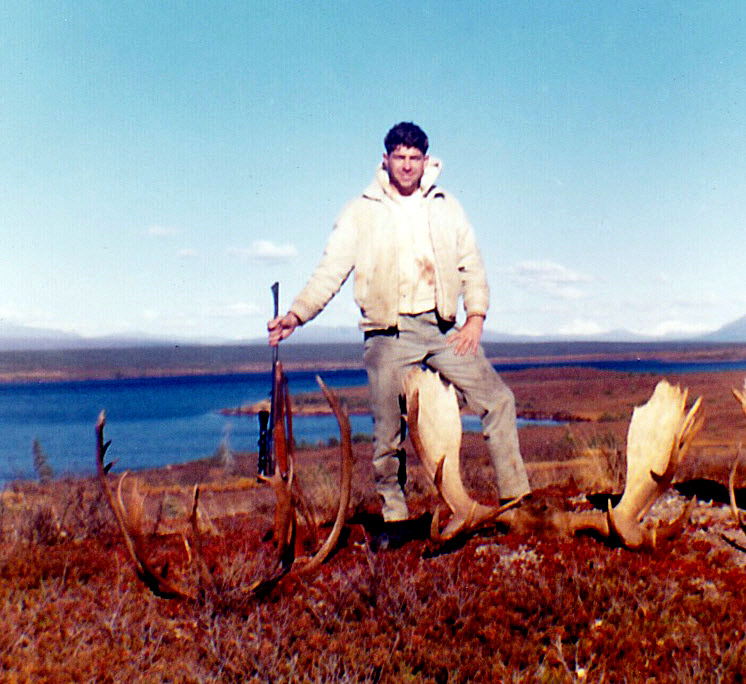 Me with my moose and caribou with Fog Lakes in the background.