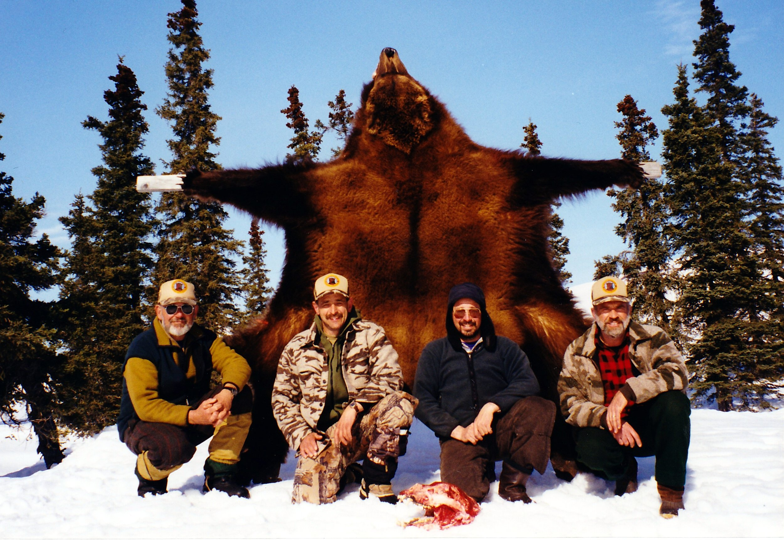 """(L to R) Dan Schwarzer, client Darryl Rodgers, Napa, CA, guide Demitrious Deoudes, """"Dee"""" and myself."""