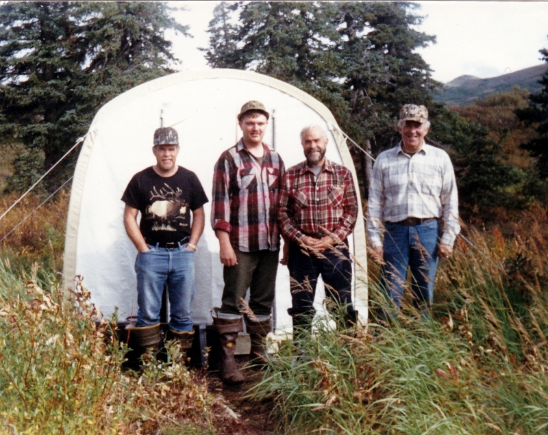 (L to R) Ron Hayden, Guide/Packer Jeff Hamburg, Ken Hayden and Lowell Leavitt at Otter Lake Base Camp .
