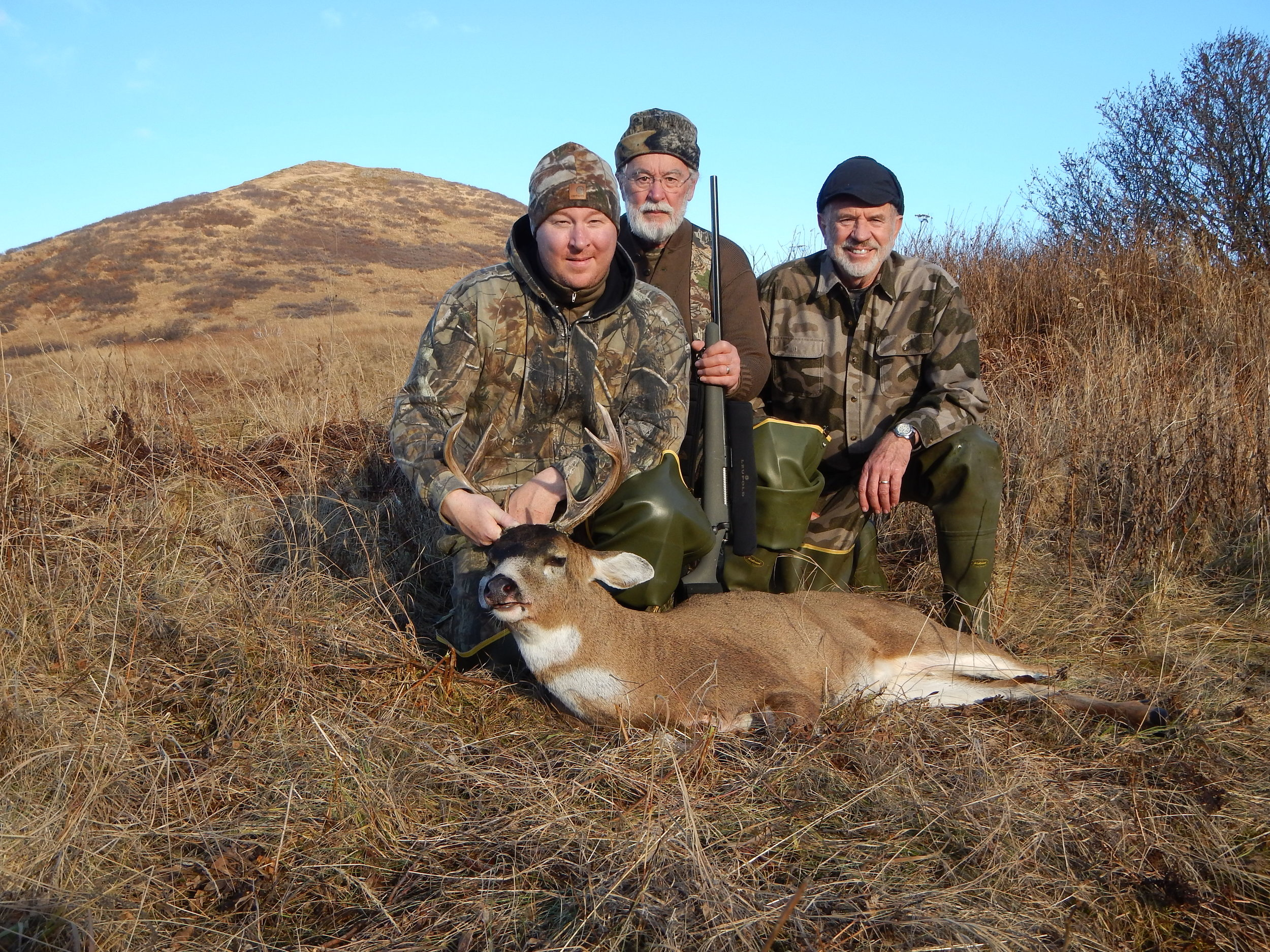 (L to R) Brian, Earl and myself with Brian's 4x3.  These are the antlers the fox dragged off.