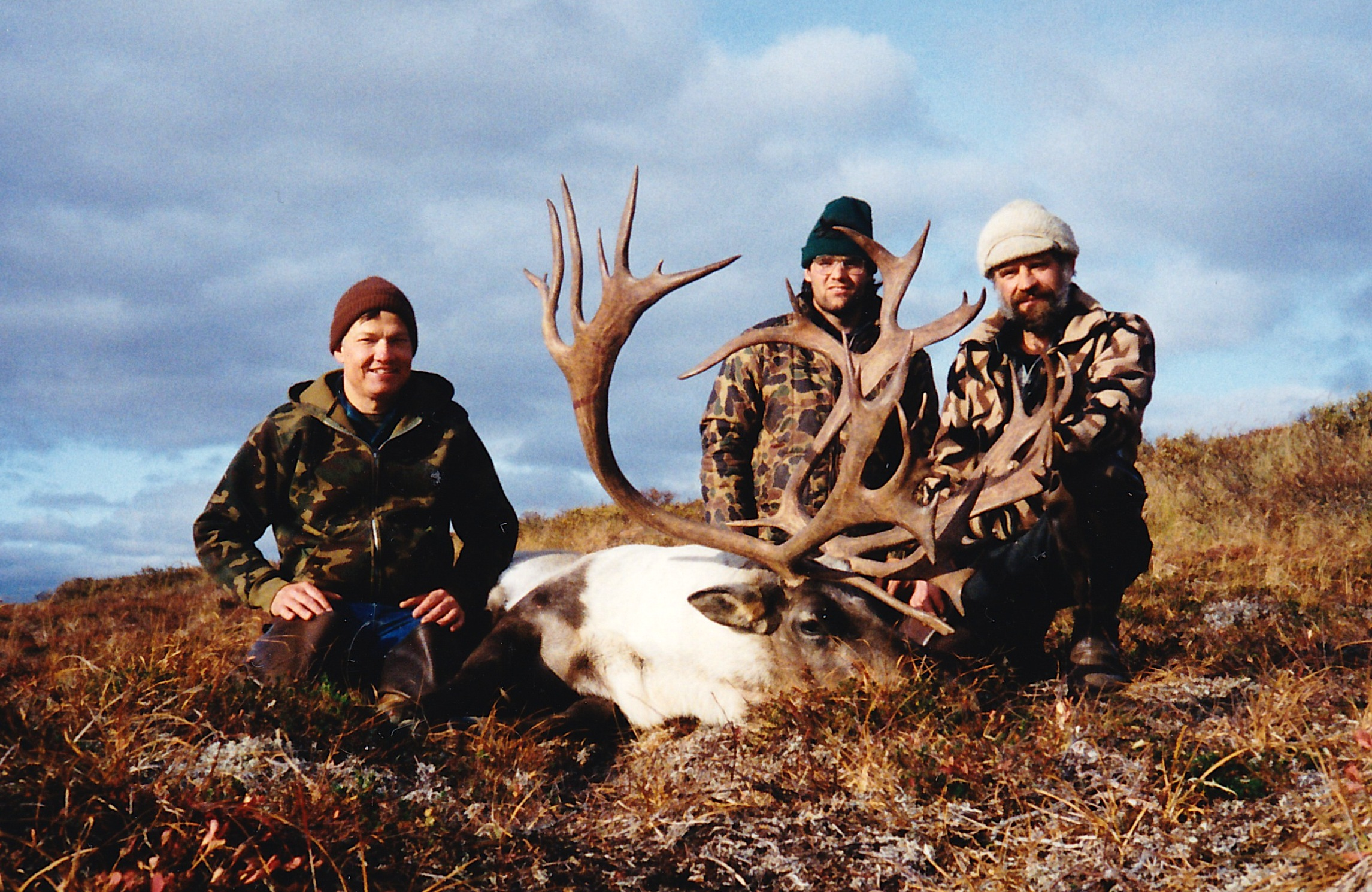 (L to R) Guide Ron Watts, packer Marty Phelps and myself with Tim Orton's caribou.