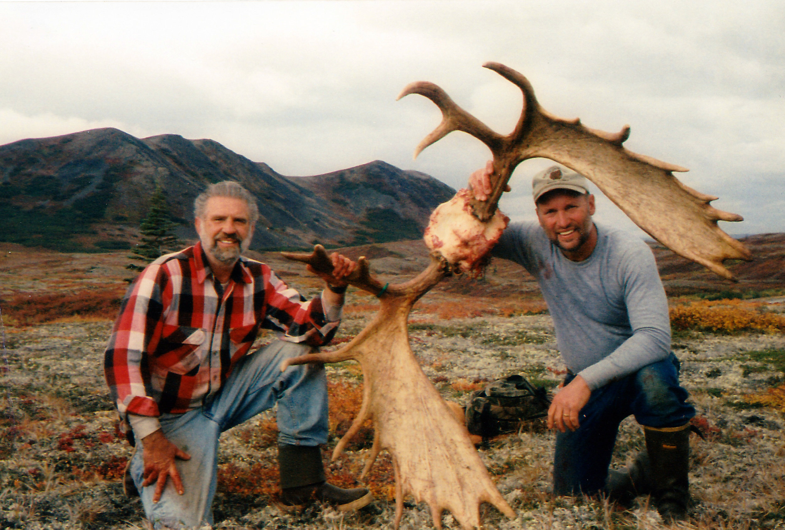 Tom Losk and me with a client's moose antlers after Tom packed them out.