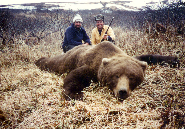 "John Bermen and me with his 10'5"" massive brown bear taken in 1988 at our Cold Bay area."