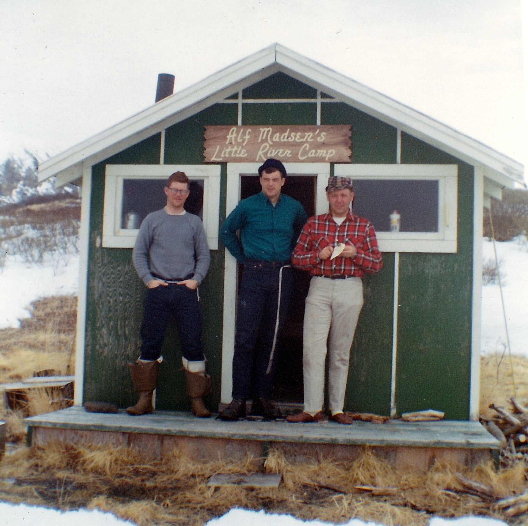 (L to R) Tex Sodergren, Gary Binkley and Denny Bush at the Little River cabin.