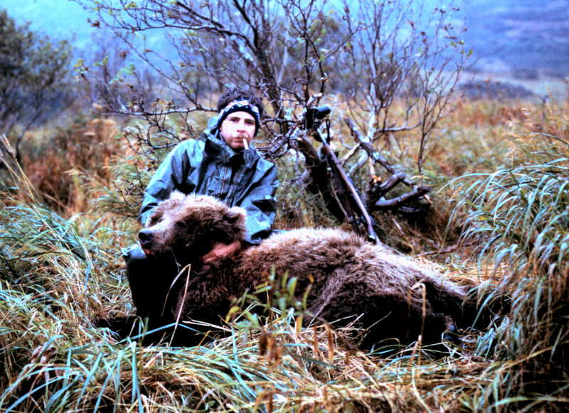"""Bob with his 7'6"""" brown bear. Bob was doing a Marlboro commercial."""