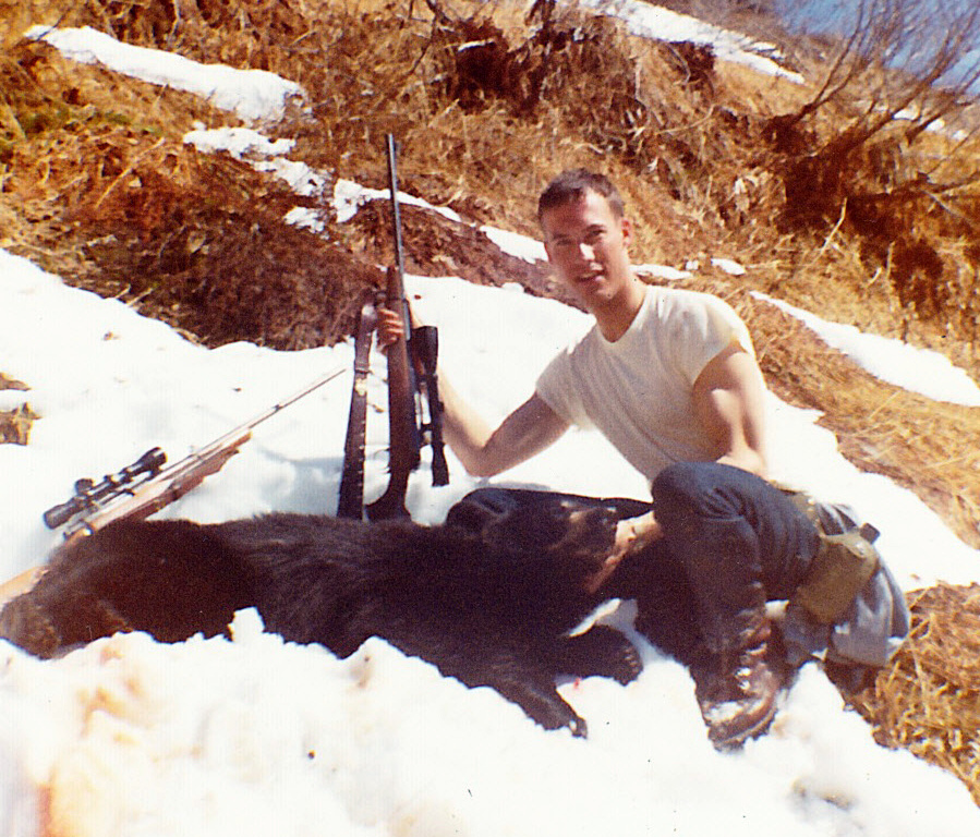 Doug Simmons with his first black bear the spring of '68.