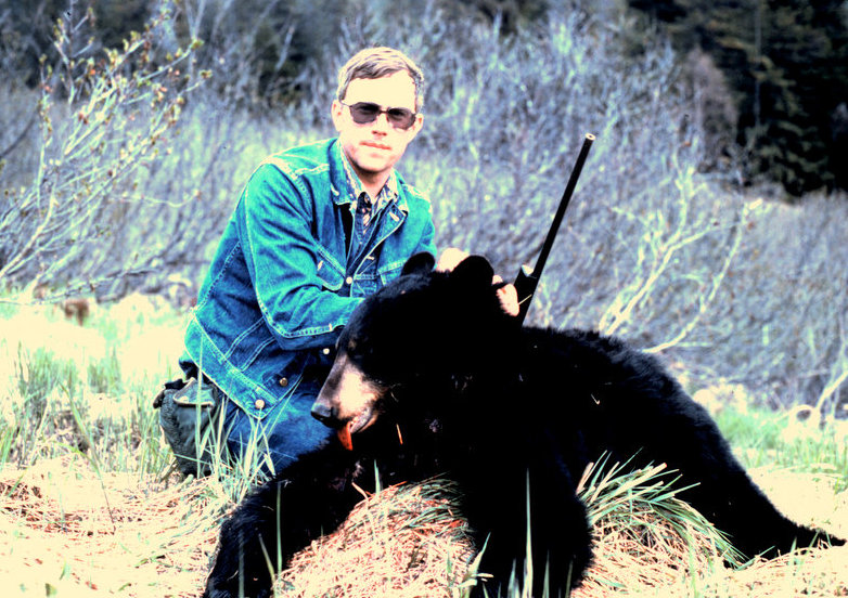 Russ Langston with his bear taken down the tracks from Moose Pass.