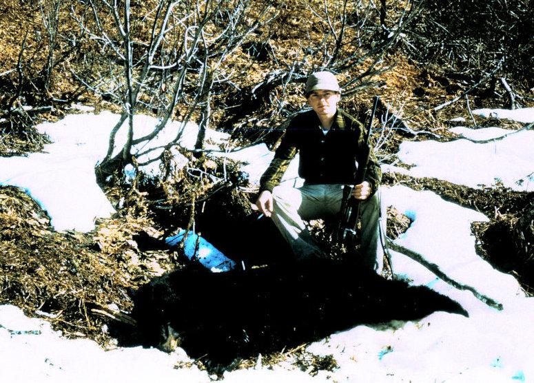 "Marv ""Buck"" Buckley with his 6' black bear."