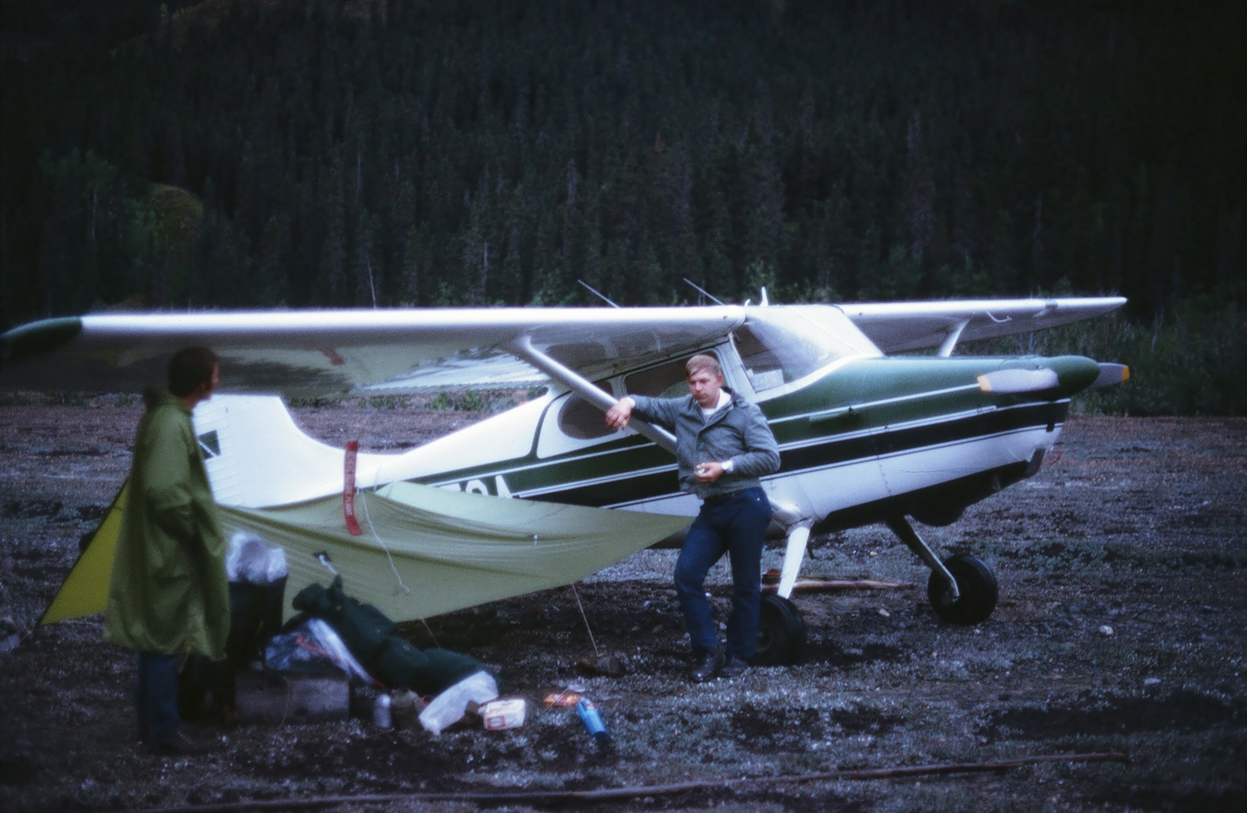 Andy leaning against the strut of his Cessna 170 at Hubert's strip.